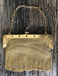 HANDBAG=GOLD MESH & CHAIN STRAP=18K=18 carat=DIAMONDS 2cts+ & RUBIES=SUEDE INNER