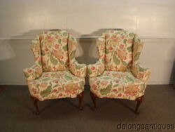 43510:Baker Pair of Queen Anne Wing-Back Chairs