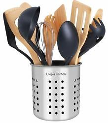 Stainless Steel Utensil Holder Container 5 x 5.3quot; Flatware Caddy Utopia Kitchen $8.99