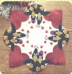 2 Olde Crowz felted wool applique penny rug candle mat pattern by Cath's Pennies