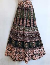 Hippie Bohemian Festival Indian Ethnic Jaipuri Block Print Wrap Skirt P $25.20