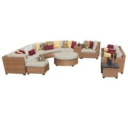 TKC Laguna 12 Piece Outdoor Wicker Sofa Set in Beige