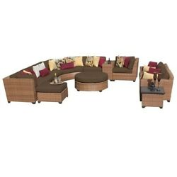 TKC Laguna 12 Piece Outdoor Wicker Sofa Set in Cocoa