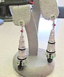 Chandelier Earrings Tsavorite GarnetBlack Onyx and Diamonds 18k wg Make Offer