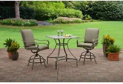 High Dining Set 3 Piece Swivel Chair Table Outdoor Furniture Lawn Patio Deck
