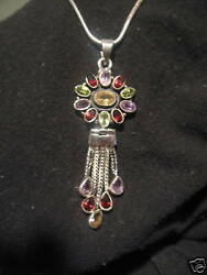 oval pendant & sterling silver necklace with imitation gemstones costume jewelry