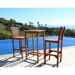 Bar Height Patio Set Outdoor Dining Table Stools Barstools Poolside Furniture