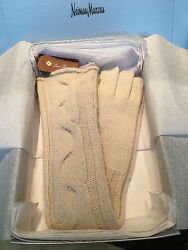 NEW in Box $ 600 LORO PIANA Baby Cashmere Cable Knit Ladies Gloves Perfect Gift