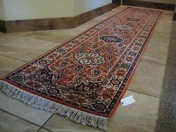 "Vintage Oriental Rug Hand-woven 100% wool (11'9""x 2'6"") RustCream - Never Used"