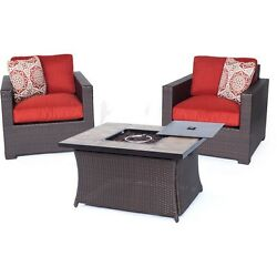 Hanover  Metropolitan 3-Piece Chat Set W Lp Gas Fire Pit Table In Autumn Berry