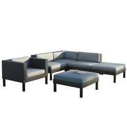 CorLiving Oakland 6 pc Sectional Chaise Lounge Chair Patio Set Outdoor Sofa