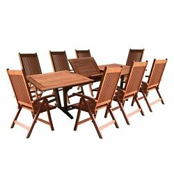 Vifah 9 Piece Wood Patio Dining Set Natural Seats 8 Without Cushions Frame Top