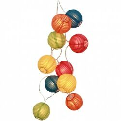 Multi Coloured Round Ball Rice Paper String Fairy Lights. Huge Saving
