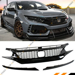 FOR 2016-18 HONDA CIVIC 10TH GEN JDM CTR STYLE GLOSSY BLK MESH FRONT HOOD GRILLE