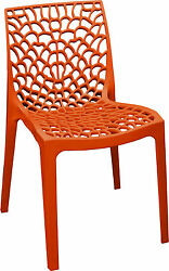 Patio Chairs Indoor Outdoor Set Of 4 RED Stackable Dining Cafe Garden Porch Four