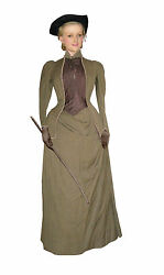 Antique Sport dress riding gown with tricorn hat Victorian Era 1890 green wool