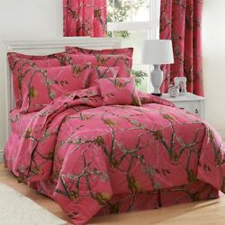 REALTREE AP FUCHSIA HOT PINK CAMO CAMOUFLAGE BEDDING -COMFORTER SET