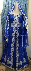DUBAI KAFTAN MAGHRIBI ABAYA ISLAMIC ARABIAN MAXI FOR WOMEN HAND ZARI WORK DRESS $79.19
