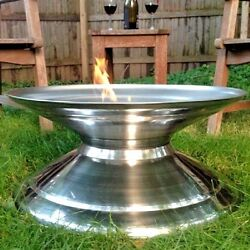 Modern Stainless Steel Outdoor Fire Pit Contemporary Fireplace Backyard Cover