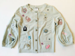 MOST WANTED 08P CHANEL BABY BLUE CASHMERE LUCKY CHARM SYMBOL CARDIGAN SWEATER 38