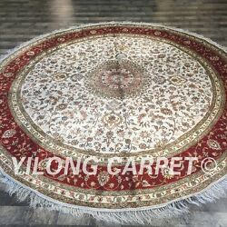 Yilong 9'x9' Round Handknotted Persian Silk Carpet Floral Bedroom Rug ZW133C