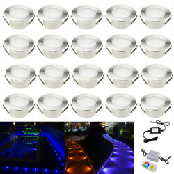 20X RGB Φ61mm 1W 12V Outdoor Garden Yard Patio Decor LED Deck Rail Step Lights