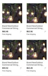 Outdoor Commercial String Lights AMLIGHT 24Ft Heavy Duty Weatherproof ships free