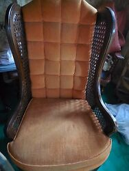 Pair of vintage Mid Century Hollywood Regency Cane LEWITTES Wing Back Chairs