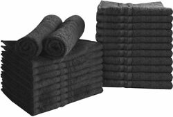 Bleach Proof Salon Towels in Black  24 Pack Cotton  16 x 27 inches Utopia Towels $52.00