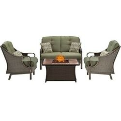 Hanover Ventura 4pc Fire Pit Set with Tan Tile Top VEN4PCFP-GRN-TN