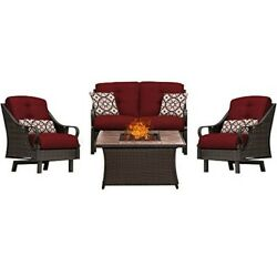 Hanover Ventura 4pc Fire Pit Set with Wood Tan Tile Top VEN4PCFP-RED-TN
