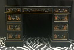 Sligh-Lowry c1940s Chinoiserie Kneehole Partners Desk