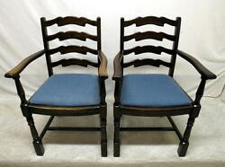 Antique Pair 2 Golden Oak Dining Room Arm Chairs Ladder Wing High Back Kitchen