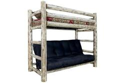 Log TWIN OVER FUTON Bunk Bed Amish Made Rustic Log Cabin Bedroom Furniture