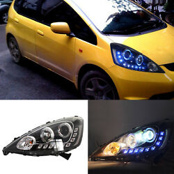For Honda FitJazz EV 09-12 LED Halo Angel Eyes+Blue LED DRL+HID Xenon Headlight
