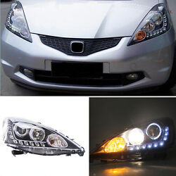 For Honda FitJazz EV 09-12 LED Halo Angel Eyes+DRL+HID Xenon Headlight Retrofit