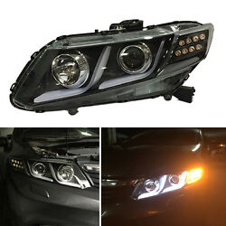 For Honda Civic Sedan 12-15 LED Light Pipe HID Xenon Headlights +Cornering Lamps