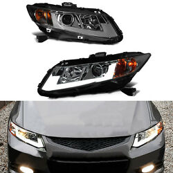 For Honda Civic 4D Sedan 12-15 LED Light Pipe Lamp HID Xenon Projector Headlight