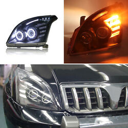 For Toyota Land Cruiser Prado 03-09 White LED Light Pipe+Halo HID Xenon Headlamp