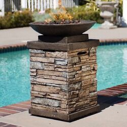 Fire Pit Gas Pits Kit Propane Bowl Burner Rocks Set Pan Outdoor Cool New Patio