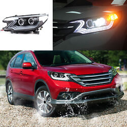 LED Light Pipe DRL H7 HID Xenon Headlights Assembly Lamps For Honda CR-V 12-14