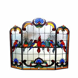 Chloe Lighting Aves Stained Glass Gathering Birds Design Fireplace Screen