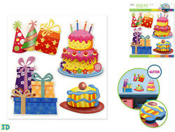 BIRTHDAY PARTY wall stickers 4pc w glitter 3D decor cake presents hats candles $8.95