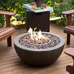 Natural Gas Fireplace DIY Fire Pit Bowl Patio Deck Stone W Cover Outdoor Patio