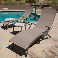 Chaise Lounge Chair Outdoor Chairs & Table 3pc Set Patio Sling Folding Pool Deck