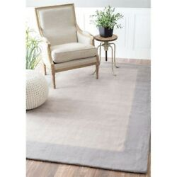 Nuloom 7' 6 X 9' Hand Tufted Paine Rug Area Rugs Natural Fibers Wool In Gray