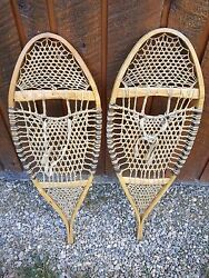 ANTIQUE Snowshoes 33quot; Long by 12quot; Wide with VERY DIFFERENT WEBBING $99.53