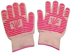 (Pink) - Magicoolglove Oven Gloves Pink BBQ Fire Place Gloves with 350 °c Heat