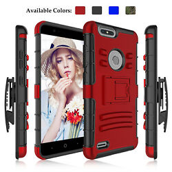 For ZTE Blade Z Max Z982 Shockproof Rugged Case With Kickstand Holster Belt Clip