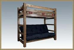 Farmhouse Style TWIN OVER FUTON Bunk Bed Rustic Lodge Cabin Bedroom Furniture